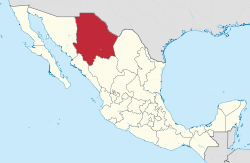 Map of location of Chihuahua in Mexico.