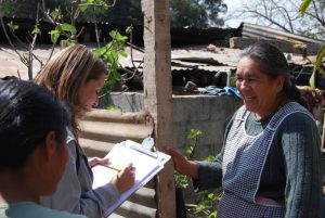female epidemiologist gathers survey data from a local resident in the field