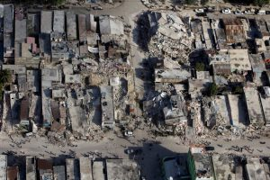 aerial view of city building ruined by an earthquake