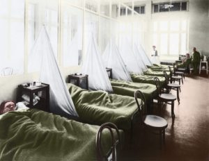 a row of beds for patients in a cholera ward