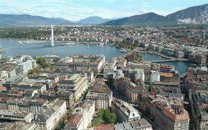 Aerial view of Geneva, Switzerland.